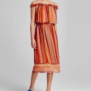 Mossimo Orange Stripe Off Shoulder Midi Dress XS